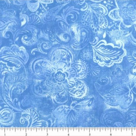 108quiltbackings blue flower bursts